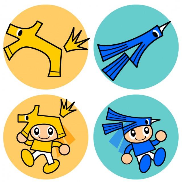 子供と馬と鳥のイラストキャラクターアイコンセット 無料イラスト素材