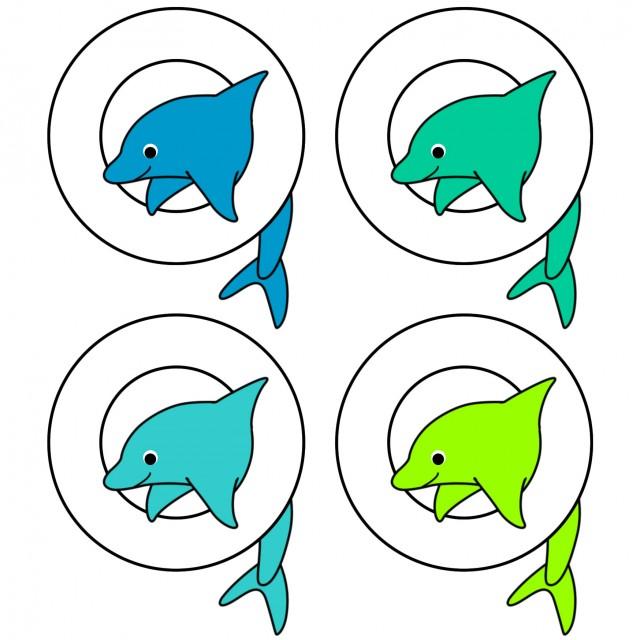 イルカの浮き輪くぐりイラストアイコン 無料イラスト素材素材ラボ