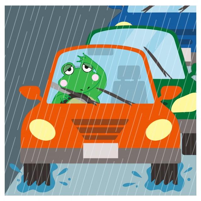 交通のイラスト(雨の日の運転)