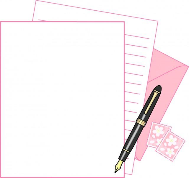桜色のレターセットのフレーム 無料イラスト素材素材ラボ
