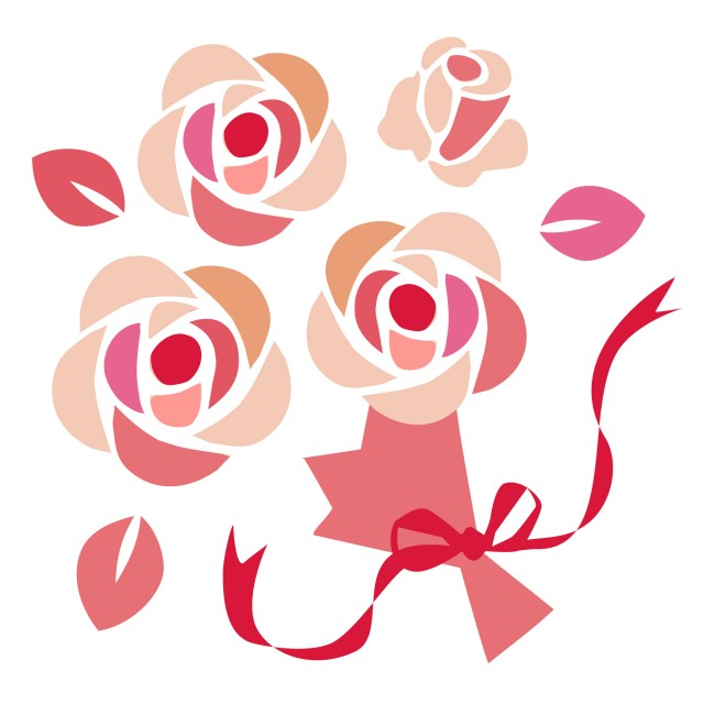 バラの花束 無料イラスト素材素材ラボ