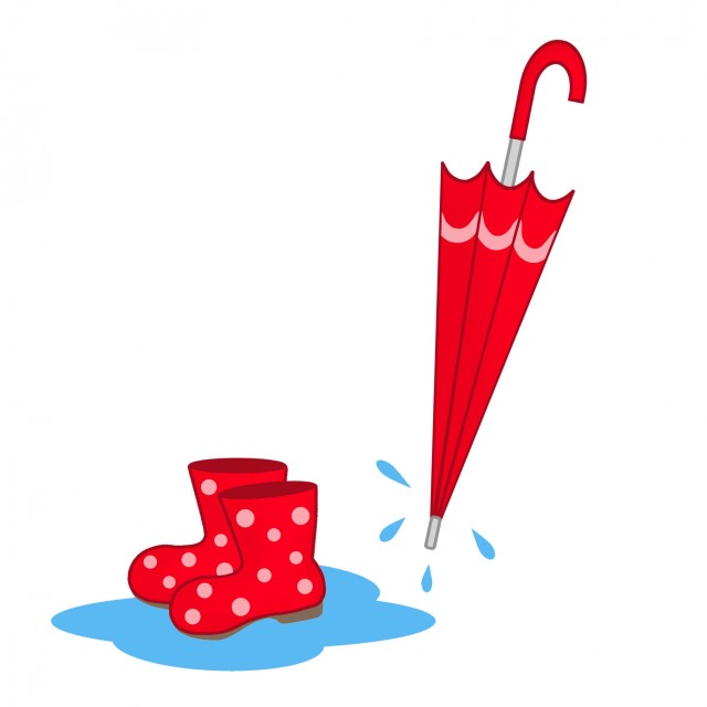 6月のイラスト傘と長靴 無料イラスト素材素材ラボ