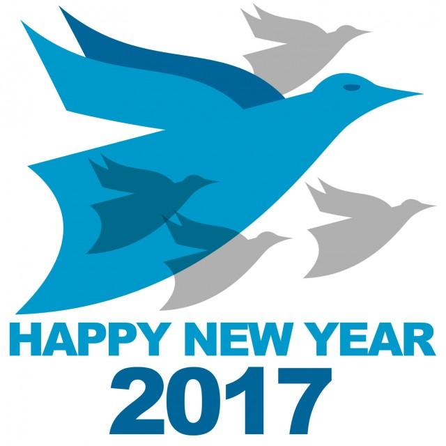 青い鳥酉年年賀状用素材2017 無料イラスト素材素材ラボ