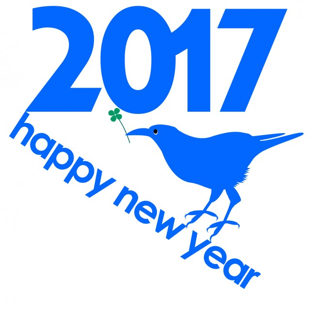 青い鳥四葉クローバーイラスト酉年年賀状用素材2017 無料イラスト