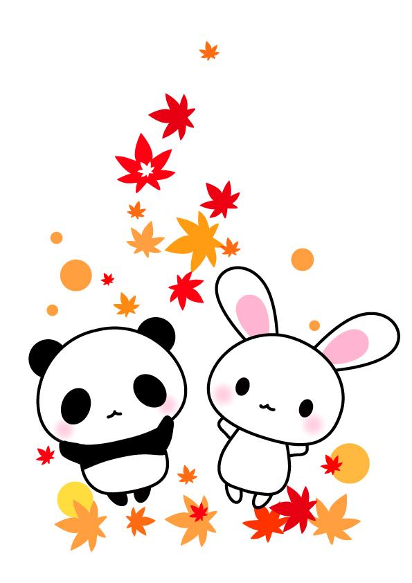 うさぎさん パンダさん秋 紅葉 もみじ 無料イラスト素材 素材ラボ