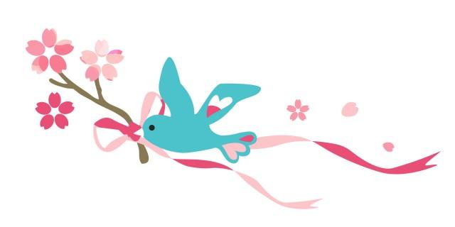 桜の小枝と小鳥 無料イラスト素材素材ラボ