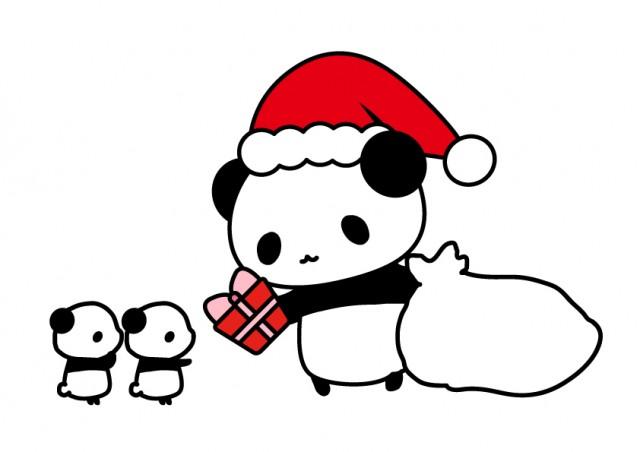パンダのサンタさんがクリスマスプレゼント 無料イラスト素材素材ラボ