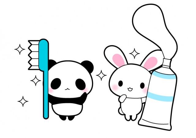 うさぎパンダ歯磨きイラスト 無料イラスト素材素材ラボ