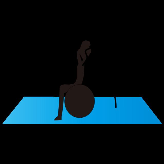 スポーツ バランスボールストレッチ コアトレーニング 無料イラスト