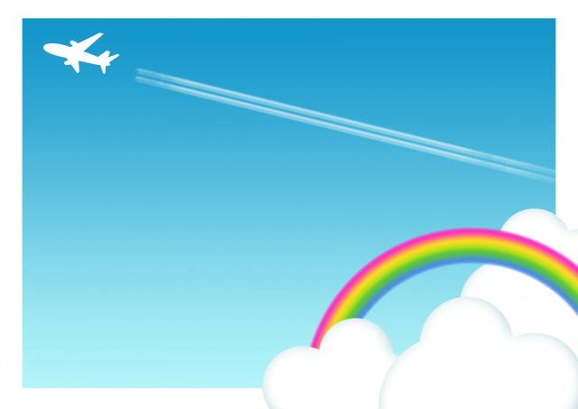 飛行機雲の背景 無料イラスト素材素材ラボ