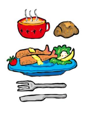 エビフライとスープとロールパン 無料イラスト素材素材ラボ