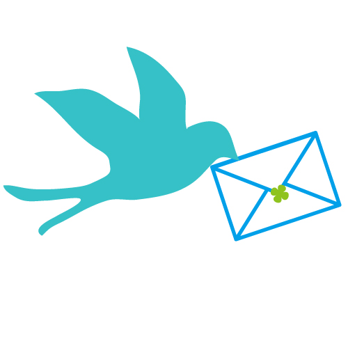 青い鳥と手紙メールのイラスト 無料イラスト素材素材ラボ