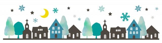 雪の夜の街並み 無料イラスト素材素材ラボ