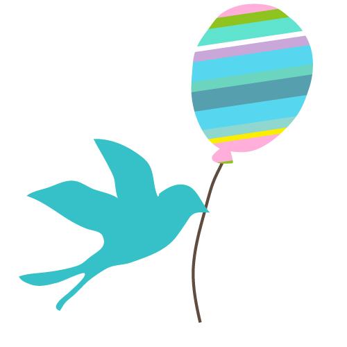 青い鳥と風船イラスト 無料イラスト素材素材ラボ