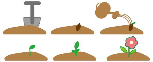 植物16 スコップとジョーロを使って植物を育てる 無料イラスト素材