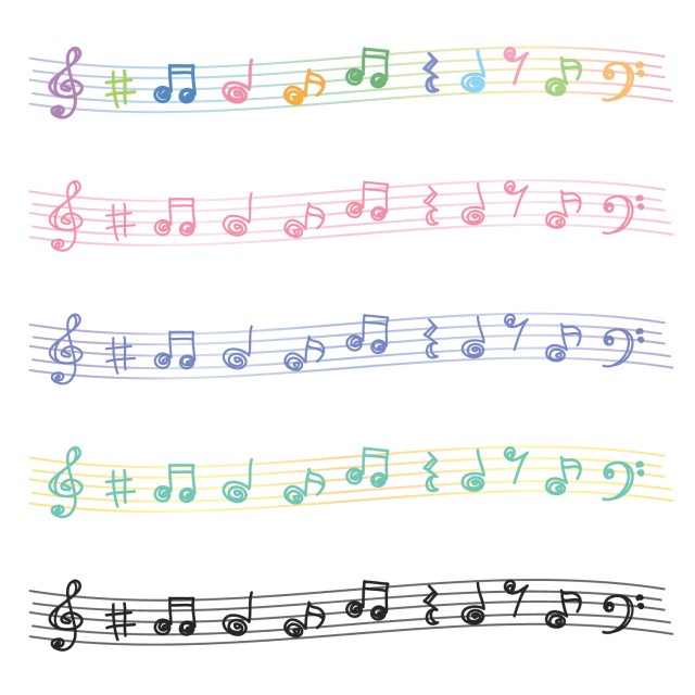 手描き風音符のライン 無料イラスト素材素材ラボ