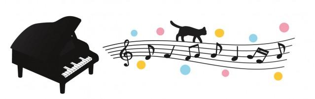ピアノと猫とドット 無料イラスト素材素材ラボ