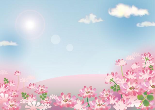 れんげ畑の風景 無料イラスト素材素材ラボ