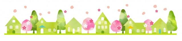 春の街並みライン素材 無料イラスト素材素材ラボ