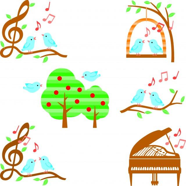 小鳥と木と音楽イラスト色々ブルー 無料イラスト素材素材ラボ