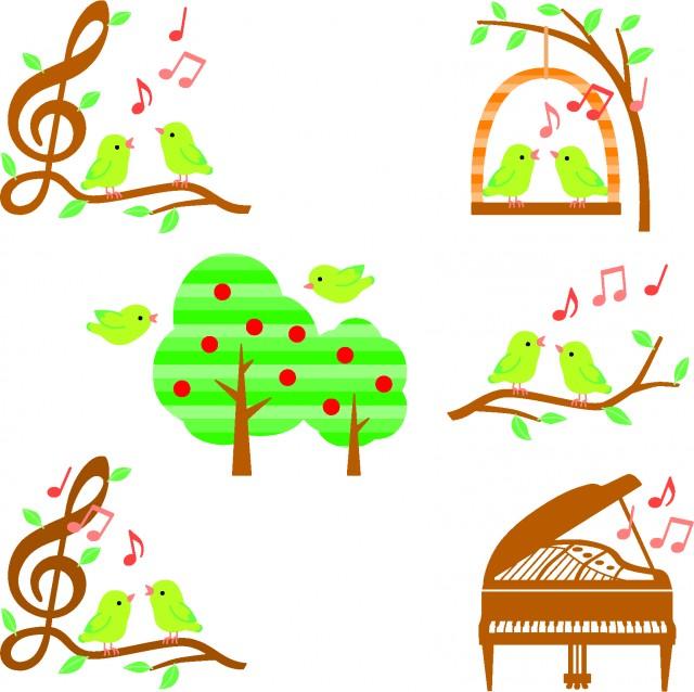 小鳥と木と音楽イラスト色々グリーン 無料イラスト素材素材ラボ