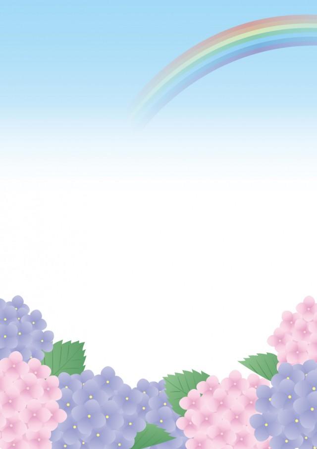 紫陽花と虹 縦 無料イラスト素材 素材ラボ