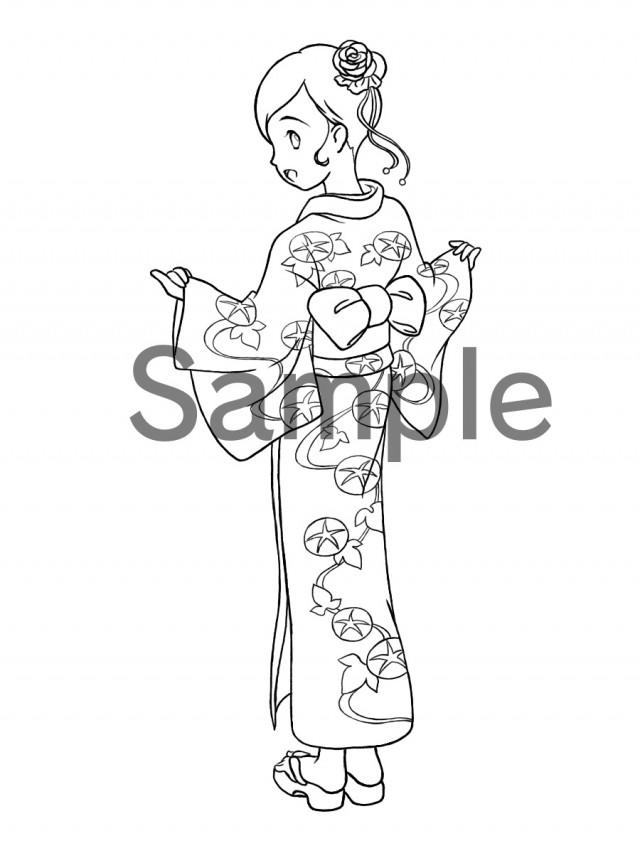 ぬりえ 浴衣の女の子 無料イラスト素材素材ラボ