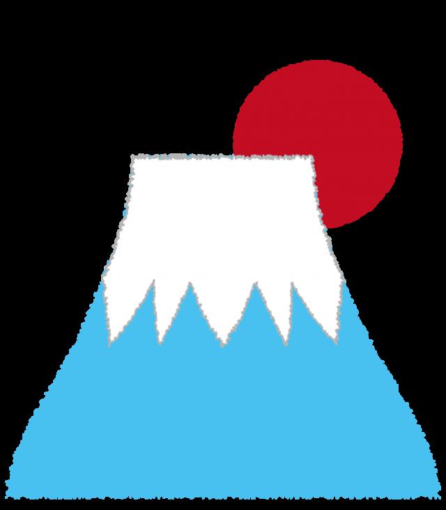 年賀状素材 お正月のアイテム 富士山 初日の出 無料イラスト素材