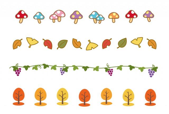 秋ものラインきのこぶどう紅葉 無料イラスト素材素材ラボ