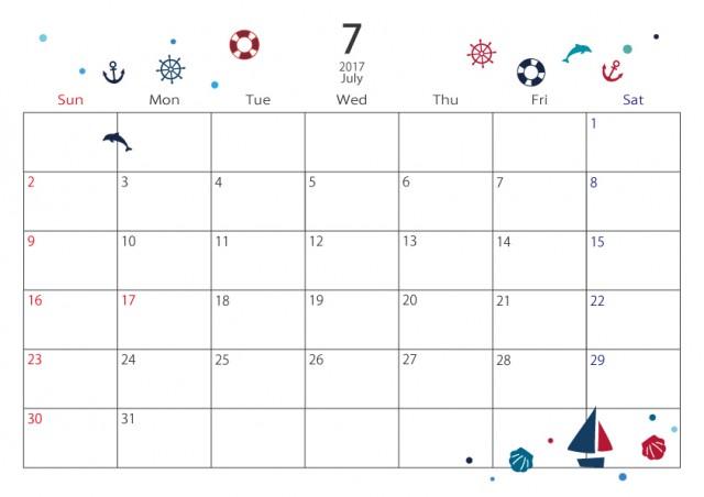 17年度 7月カレンダー 小さなイラスト 無料イラスト素材 素材ラボ