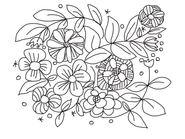 お花の塗り絵のイラスト 無料イラスト素材素材ラボ