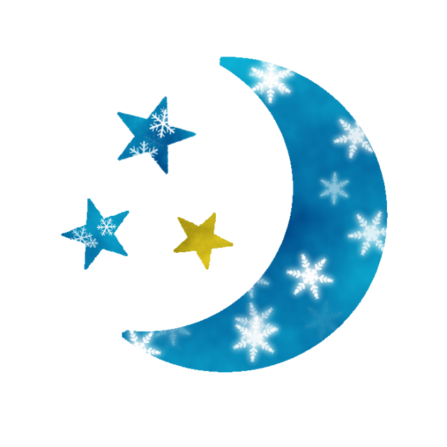 雪の結晶柄の三日月と星のイラスト 無料イラスト素材 素材ラボ