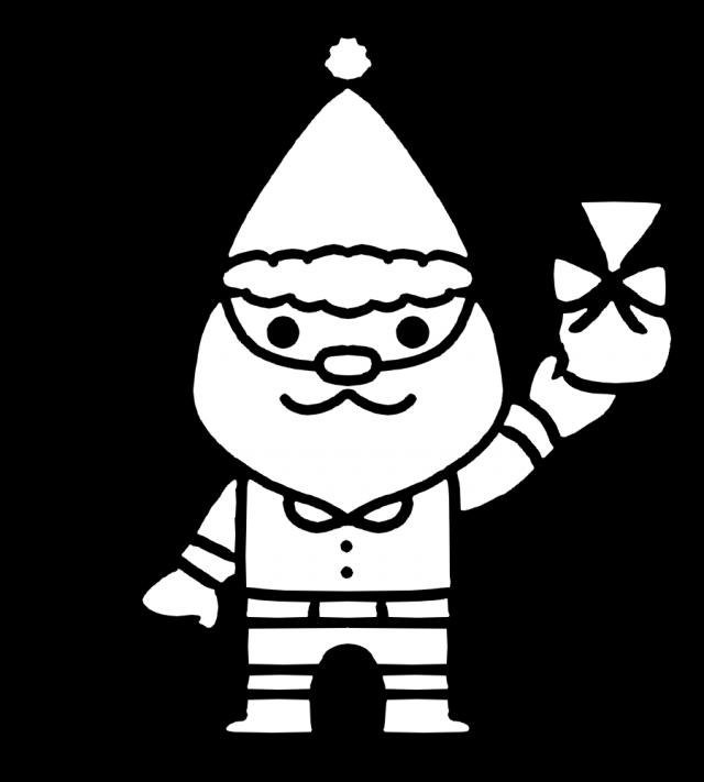 プレゼントを持ったサンタクロースのぬりえのイラスト 無料イラスト