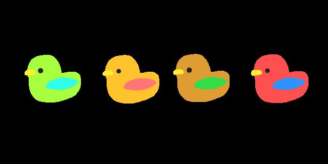 カラフル小鳥ラインのイラスト