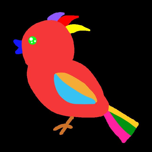 赤いカラフルな鳥のイラスト 無料イラスト素材素材ラボ