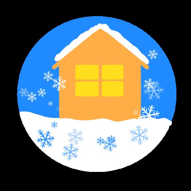 冬の家と雪の結晶のイラスト 無料イラスト素材素材ラボ