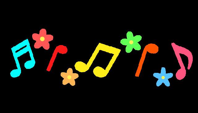 音符とカラフルなお花のラインイラスト 無料イラスト素材素材ラボ