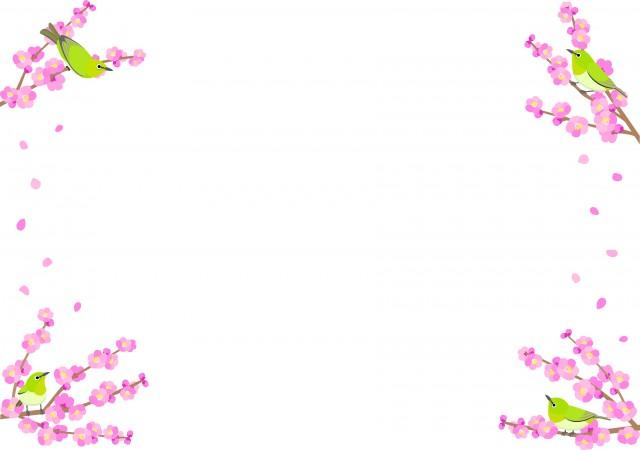 桃の花とメジロのフレーム風のイラスト 無料イラスト素材素材ラボ