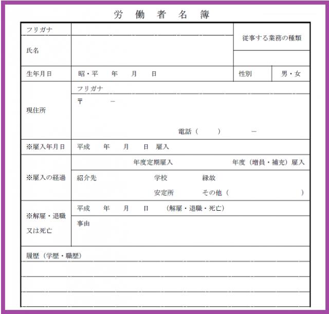無料イラスト素材:労働者名簿の雛形テンプレート