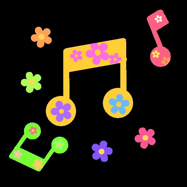 お花柄の音符のイラスト 無料イラスト素材素材ラボ