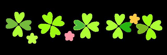 四つ葉のクローバーと花のラインのイラスト 無料イラスト素材素材ラボ