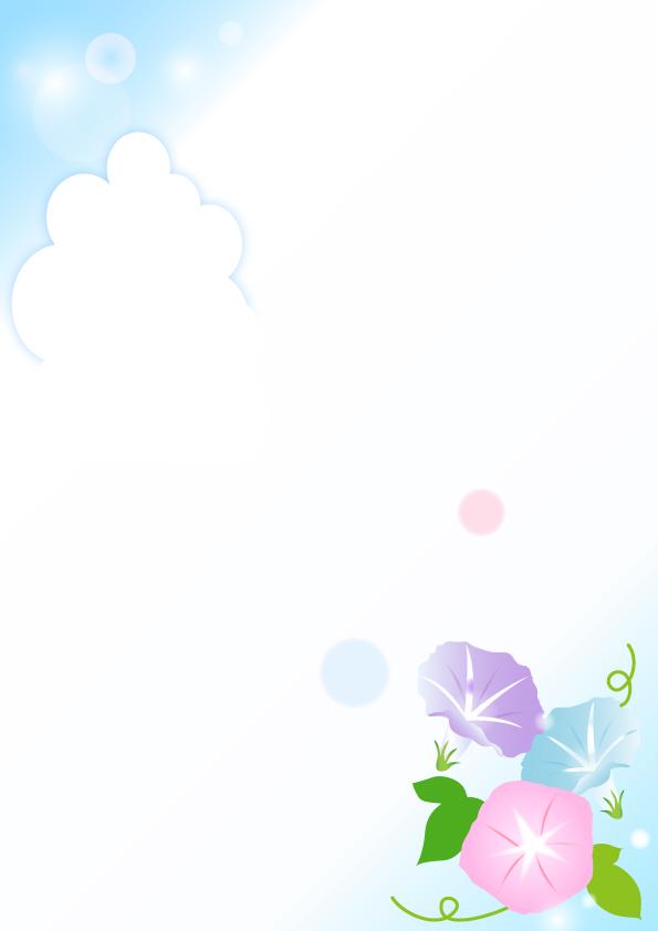 あさがおの花と入道雲のフレーム 無料イラスト素材 素材ラボ