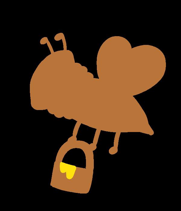 蜜蜂と蜂蜜のシルエットのイラスト 無料イラスト素材素材ラボ