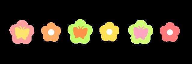 チョウチョと花ラインのイラスト 無料イラスト素材素材ラボ