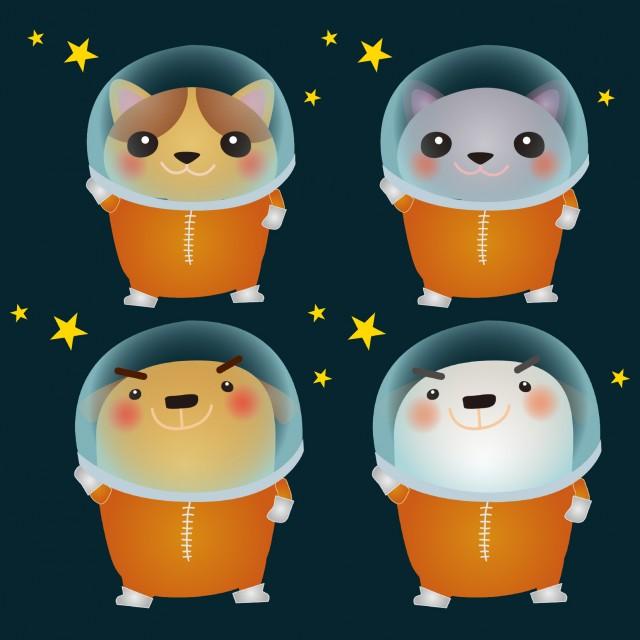 わんにゃん宇宙飛行士セット 無料イラスト素材素材ラボ