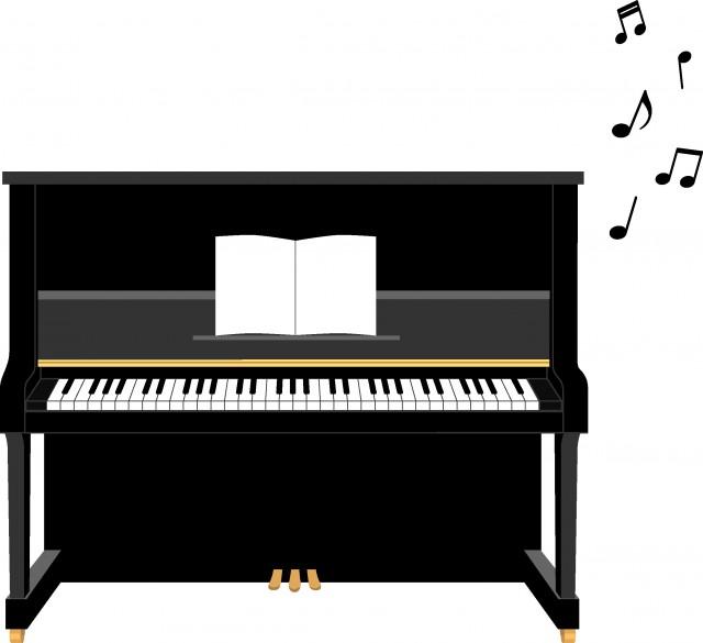 黒のアップライトピアノのイラスト 無料イラスト素材素材ラボ