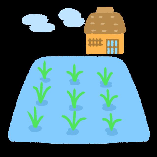 田植えがされた田んぼと家のイラスト 無料イラスト素材 素材ラボ
