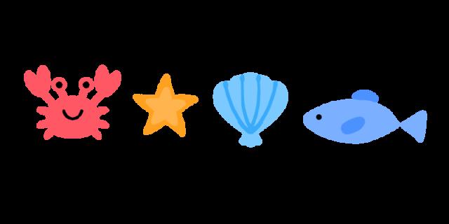海の生き物ラインのイラスト 無料イラスト素材素材ラボ