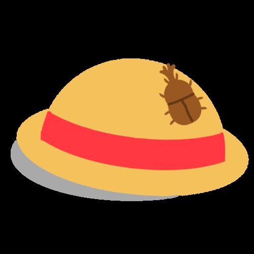麦わら帽子とカブトムシのイラスト 無料イラスト素材素材ラボ