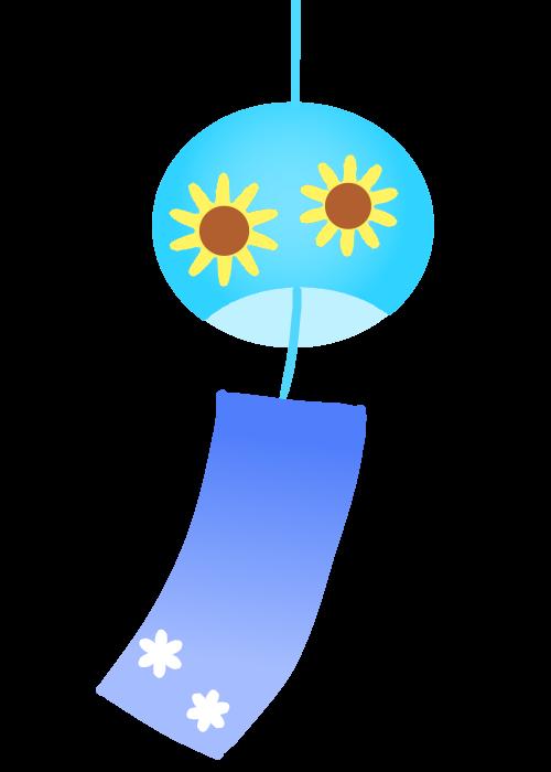 向日葵模様の風鈴のイラスト 無料イラスト素材 素材ラボ